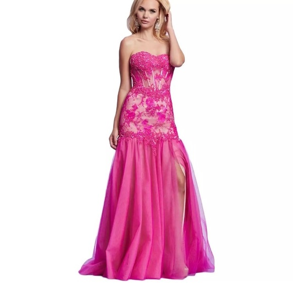 84f8bc940c Mac Duggal fuschia nude prom dress gown